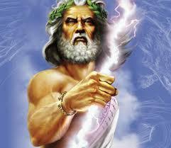 Mythological Greek god Zeus often ruled by tyranny and thunderbolt.